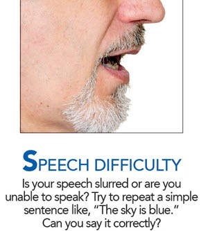 "SPEECH DIFFICULTY Is your speech slurred or are you unable to speak? Try to repeat a simple sentence like, ""The sky is blue."" Can you say it correctly?"